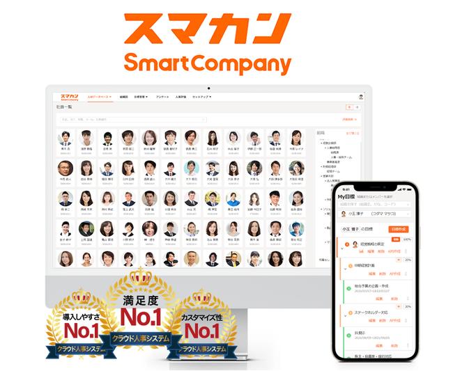 『スマカン(SmartCompany)』が、「クラウド人事システム 満足度」「カスタマイズ性に優れた クラウド人事システム」「導入しやすい クラウド人事システム」の3項目で第1位を獲得